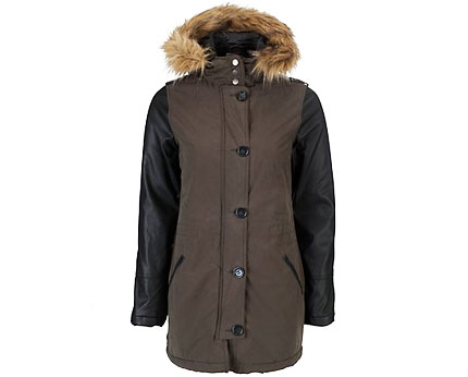 Khaki Contrast Sleeve Parka Coat at Newlook