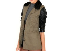 Khaki Marion Contrast Army Jacket with Fur Collar at Missguided