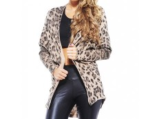 Leopard Print Knit Cardigan at AX Paris