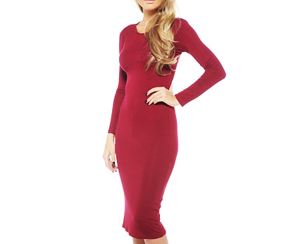 Long Sleeve Plain Midi Dress at AX Paris