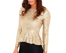 Makena Sequin Peplum Top at Missguided