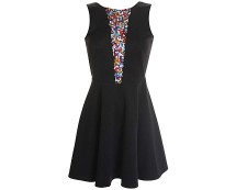 Love Black Marcella Skater Dress with Sequin Front Panel