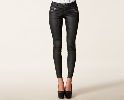 Only Olivia Regular Zip Skinny Jeans - Black @ lookcubes ...