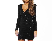 Sequin Long Sleeve Bodycon Dress at AX Paris