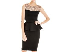 Sequin Trim Peplum Dress at  Goddiva