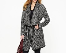 Black/White South Mono Belted Knitted Jacket at Isme