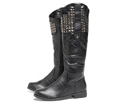 Black Knee Length Flat Leather Studded Boots at AX Paris