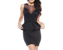 Black Mesh Front Peplum Dress at AX Paris
