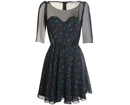 Sweetheart Contrast Skater Dress