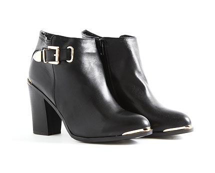 Wanika Leather Ankle Boots with Metal Tip - Black
