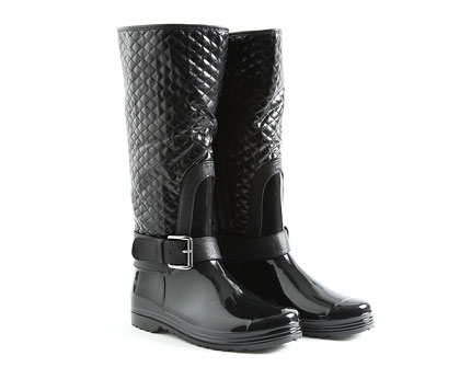 Whoopi Patent Quilted Wellington Rain Boots at Missguided