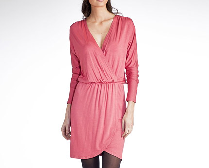 Wrapover Dress with Batwing Sleeves at La Redoute