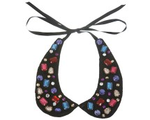 Lace Collar with Coloured Gem Detail at Miss Selfridge