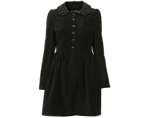 Velvet Fitted Jacket with Beaded Collar at Miss Selfridge