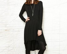 Black Asymmetric Hem Jersey Dress at Urban Outfitters