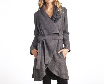 Asymmetric Wool Coat with Belted Waist at La Redoute