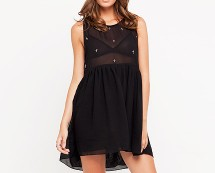 Baby Doll Mesh Contrast Dress with Cross Studs at Motel Rocks