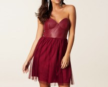 Burgundy Bandeau Contrast Dress at Nelly