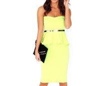 Neon Green Bandeau Peplum Dress at Missguided