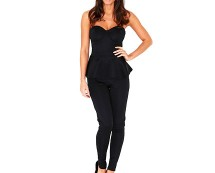 Black Bandeau Peplum Jumpsuit at Missguided