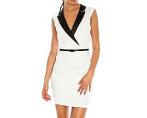 White Belted Tuxe Dress at Goddiva
