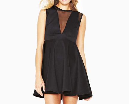 Black Mesh Scuba Dress at Very