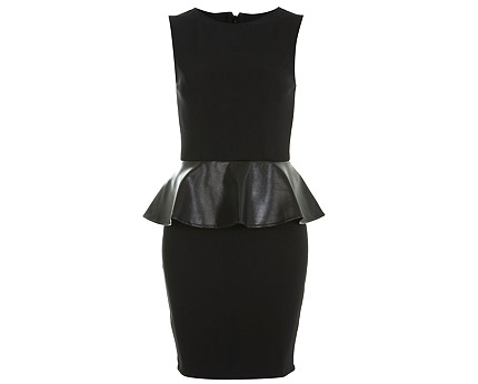 Black PU Peplum Dress at Miss Selfridge