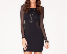 Bodycon Dress with Mesh Sleeves at Motel