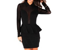 Black Bodycon Peplum Dress with Mesh Panelling at Missguided