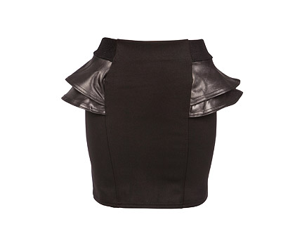 Black Bodycon Skirt with PU Peplum Sides at Republic