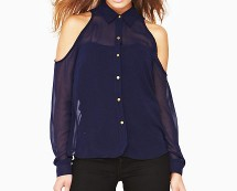 Button up Chiffon Shirt with Cut-out Shoulders at K&Co