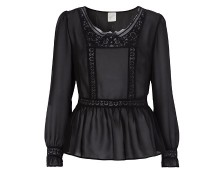 Black Peplum Inspired Chiffon Embroidered Blouse at George Asda