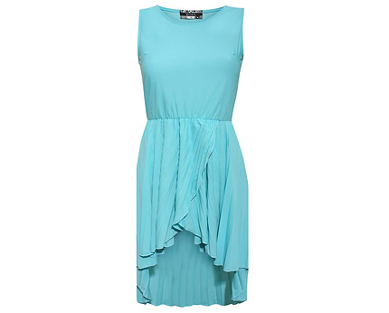 Aqua Blue Chiffon Sleeveless Dip Hem Dress at PilotFashion
