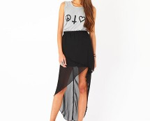 Chiffon Wrap Over Asymmetric Skirt at Missguided