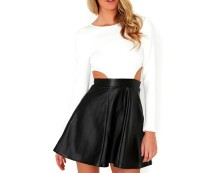 Contrast Cut Out Skater Dress at Missguided