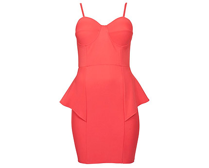 Coral Bodycon Peplum Dress at New Look
