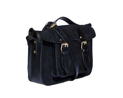 Black Crafted Leather Satchel Bag at Republic