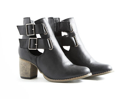 Black Cut Out Strappy Ankle Boots at Missguided