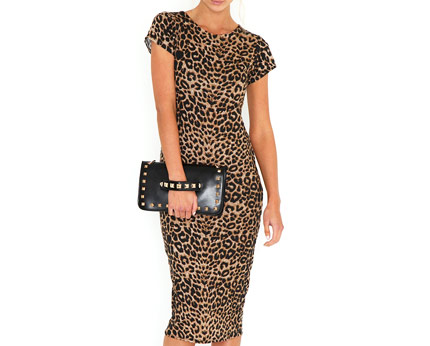 Daisie Leopard Print Midi Bodycon Dress at Missguided