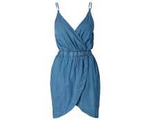 Denim Wrap Over Dress at Nelly