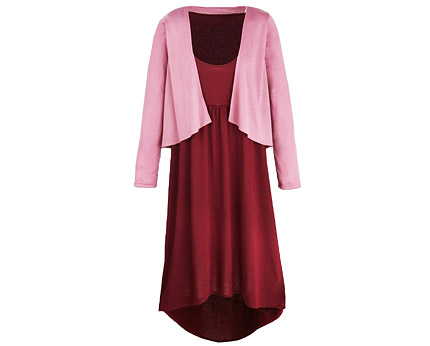 Dipped Hem Jersey Dress with Cardigan at JD Williams