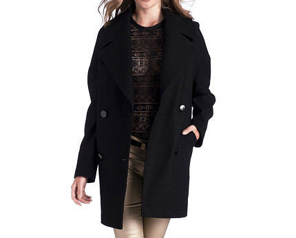 Double Breasted Long Reefer Jacket at La Redoute