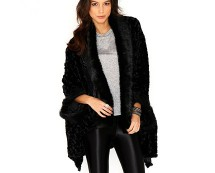 Black Faux Fur Long Length Cape at Missguided