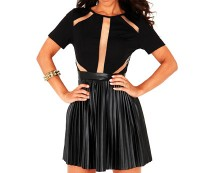 Mesh and Faux Leather Pleated Skater Dress at Missguided
