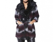 Fur Collar Aztec Print Coat at AX Paris