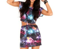 Galaxy Print Cut Out Tunic Dress at Missguided