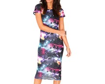 Galaxy Print Midi Dress at Missguided