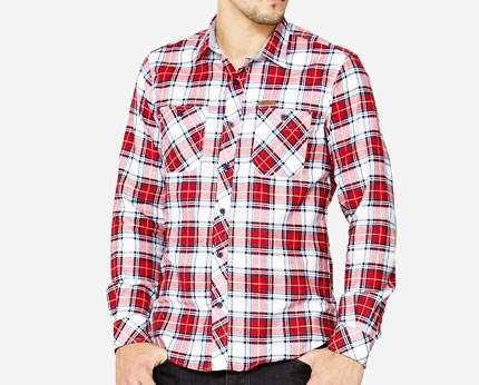 Goodsouls Men's Long Sleeve Checked Shirt at Isme