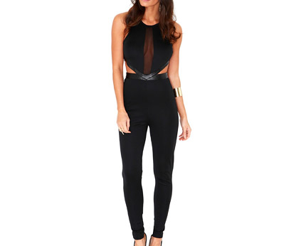 Jumpsuit with Cut Out Sides and Mesh Panelling at Missguided