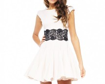 Lace Panel Skater Dress at AxParis